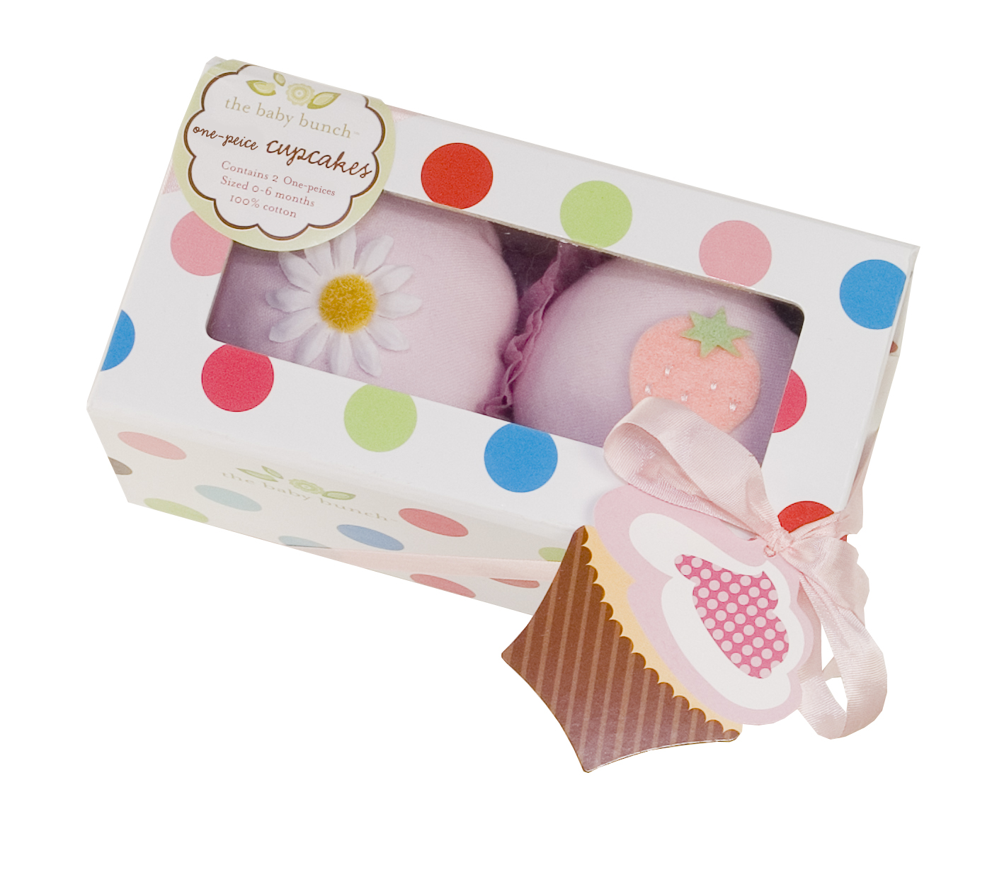 Box of 2 Pink Cupcake One-pieces