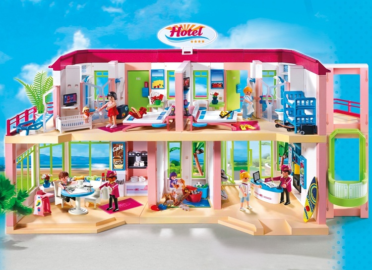 playmobil large furnished hotel - Play Mobile Fille